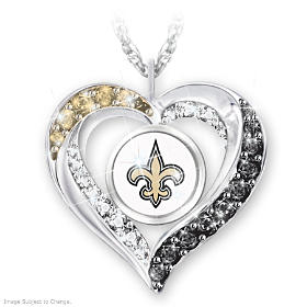 I Love My Saints Fan Pendant Necklace