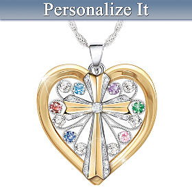 Faith And Family Personalized Diamond Pendant Necklace