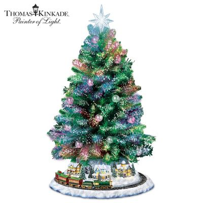 Thomas Kinkade Pre-Lit Christmas Tree With Music And Motion by