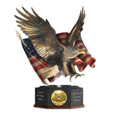 "Click here to buy ""Pride Of America"" Veterans Tribute Eagle and Flag Sculpture."