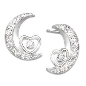 I Love You To The Moon And Back Daughter Diamond Earrings