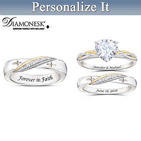 Blessed In Faith His & Hers Personalized Wedding Ring Set