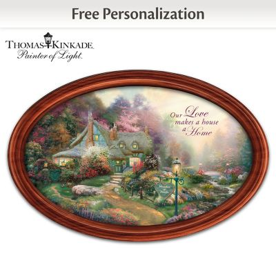 Thomas Kinkade Art Romantic Collector Plate With 2 Names by
