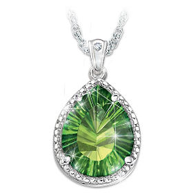 Radiant Treasure Helenite And Diamond Pendant Necklace