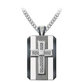 God Is My Strength Diamond Pendant Necklace
