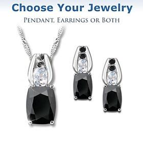 Black Velvet Pendant Necklace And Earrings Set