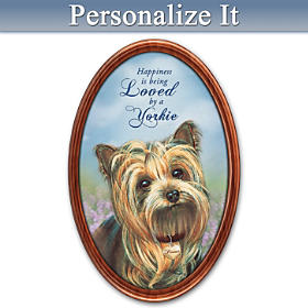 Happiness Is My Yorkie Personalized Collector Plate