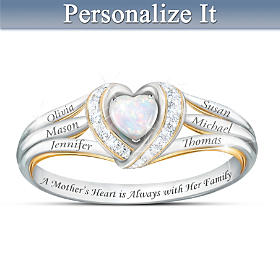 A Mother's Joyful Heart Personalized Diamond Ring