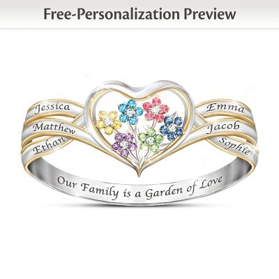 Our Family Is A Garden Of Love Personalized Birthstone Ring by