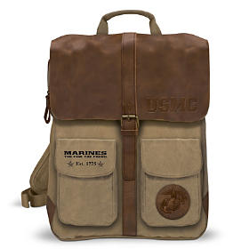 U.S. Marine Corps Canvas And Leather Backpack