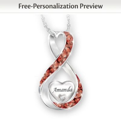 Granddaughter Name-Engraved Birthstone And Diamond Necklace by