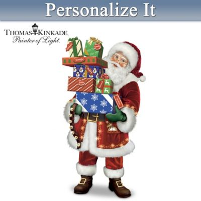 Personalized Illuminated Musical Santa Sculpture by