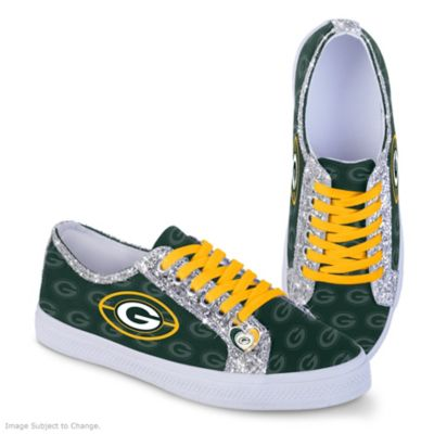 Top Green Bay Packers Ever Sparkle Womens NFL Canvas Shoes With Glitter  for sale