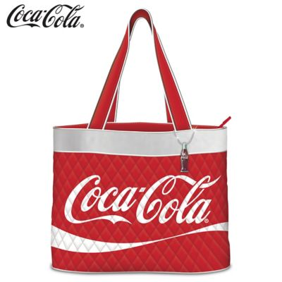 COCA-COLA Women's Quilted Tote Bag with Coke Bottle Charm by
