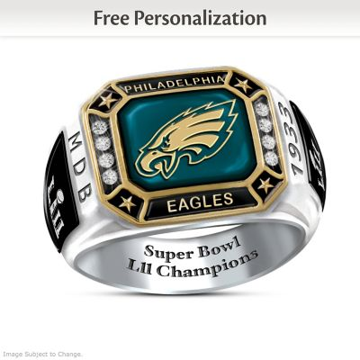 Eagles Super Bowl LII Champions Personalized Men's Ring by