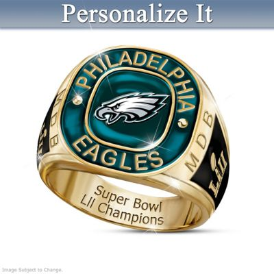 Super Bowl LII Champions Eagles Personalized Men's Ring by