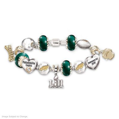 b133f751 Eagles Super Bowl LII Swarovski Crystal Charm Bracelet