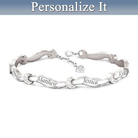 I Love My Family Personalized Diamond Bracelet