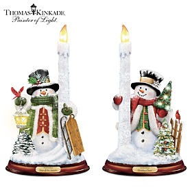 Thomas Kinkade All Is Bright Snowman Candleholder Set