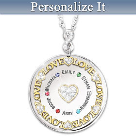 Heart Of Our Family Personalized Pendant Necklace