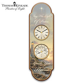 Thomas Kinkade Light Of Peace Thermometer Wall Clock