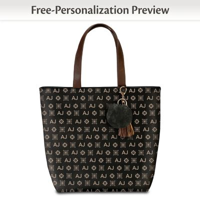 Personalized Tote Bag With Your Initials In Designer Pattern