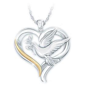 Peace And Love Diamond Pendant Necklace