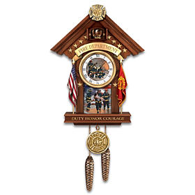 Firefighter Commitment To Courage Cuckoo Clock