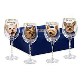 Time To Un-Wined Yorkie Wine Glass Set