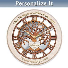 Rooted In Family Personalized Wall Clock