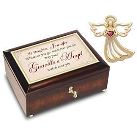 Guardian Angel Keepsake Pin And Personalized Music Box Set