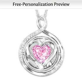 Three Words, One Love Personalized Flip Pendant Necklace