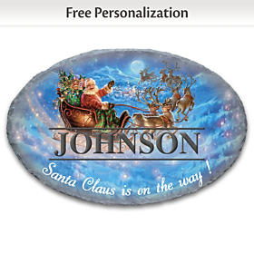 Santa In His Sleigh Personalized Welcome Sign
