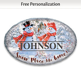 Snowman Personalized Welcome Sign