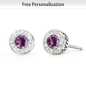 Classic Glamour Birthstone & Diamond Earrings
