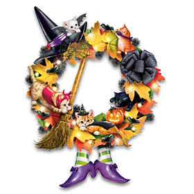 A Purr-fectly Mischievous Halloween Wreath