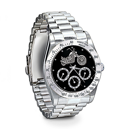Photo of Ride Hard, Live Free Stainless Steel Motorcycle Chronograph Watch: Jewelry Gift For Biker by The Bradford Exchange Online