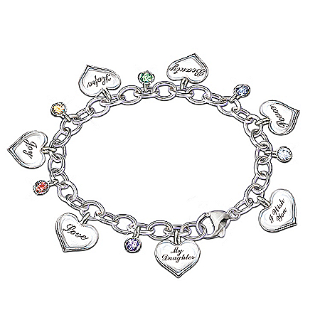 Photo of Heartfelt Wishes Sterling Silver-Plated Charm Bracelet Gift for Daughter by The Bradford Exchange Online