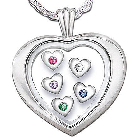 Photo of Mother's Loving Heart Sterling Silver Heart-Shaped Birthstone Pendant by The Bradford Exchange Online