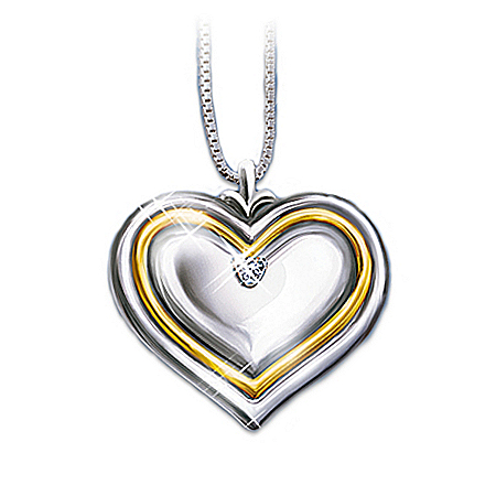 Photo of Dear Daughter-In-Law Heart Shaped Diamond Pendant Necklace by The Bradford Exchange Online