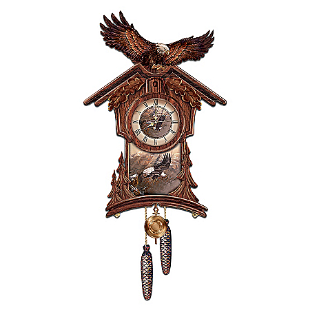 Photo of Timeless Majesty Collectible Cuckoo Clock With Bald Eagle Art by The Bradford Exchange Online