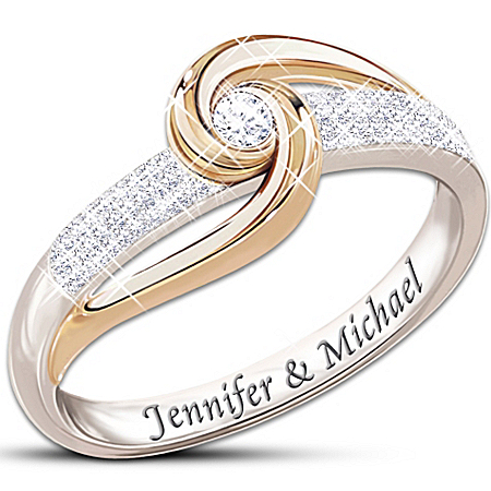 Photo of Lover's Knot Personalized Diamond Ring: Romantic Jewellery Gift by The Bradford Exchange Online