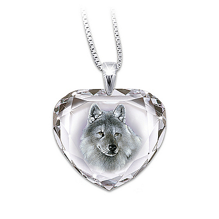 Photo of Silver Scout Cut Crystal Pendant Necklace With Wolf Art by The Bradford Exchange Online