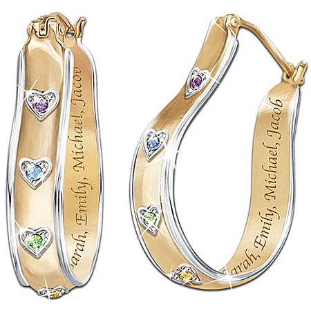 Photo of A Mother's Joy Personalized Birthstone Earrings: Keepsake Jewelry Gift For Mom by The Bradford Exchange Online