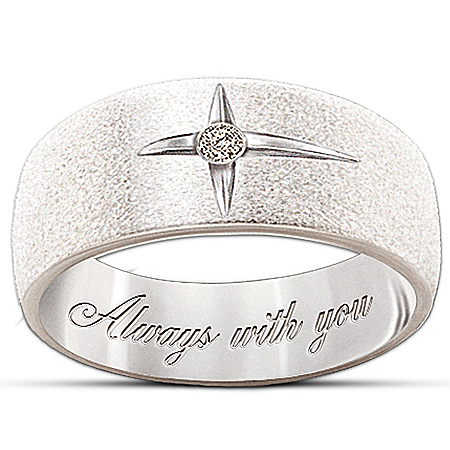 Photo of Forever In Faith Sterling Silver And Solitaire Diamond Women's & Men's Cross Ring by The Bradford Exchange Online