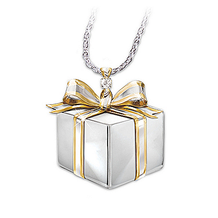Photo of Granddaughter Gift Box-Shaped Diamond Pendant Necklace: Grandma's Gift by The Bradford Exchange Online