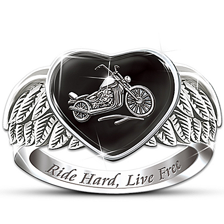 Photo of Ride Hard, Live Free Engraved Sterling Silver Ladies Motorcycle Ring: Jewelry Gift For Her by The Bradford Exchange Online