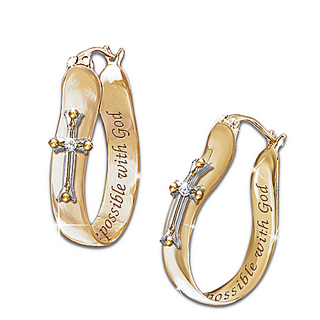 Image of Thomas Kinkade Religious Diamond Earrings: Believe