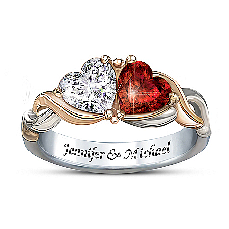 Photo of Two Hearts, One Love Heart-Shaped Personalized Ring: Romantic Jewelry Gift by The Bradford Exchange Online