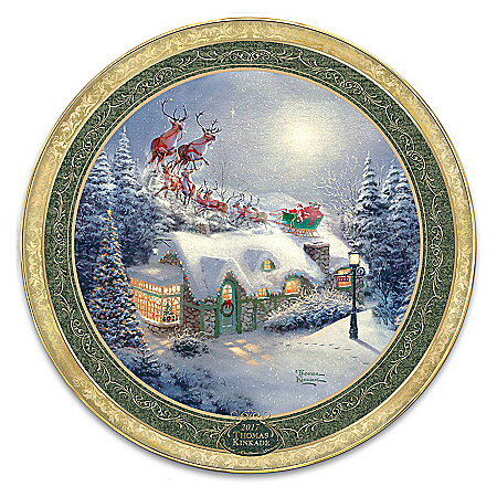 Photo of Thomas Kinkade Dash Away All Holiday Heirloom Porcelain Collector Plate With Custom-Crafted Box by The Bradford Exchange Online